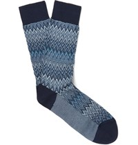 Missoni Patterned Cotton Blend Socks Blue