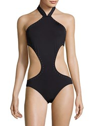 Vince Camuto Pacific Coast Studded High Neck Monokini Swimsuit Black