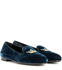 Church's Ingrid Velvet Loafers Blue
