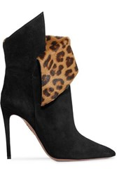 Aquazzura Night Fever 105 Calf Hair Trimmed Suede Ankle Boots Black
