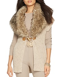 Lauren Ralph Lauren Faux Fur Collar Vest Light Taupe Heather