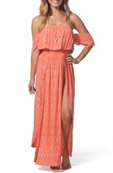 Rip Curl Saltwater Off The Shoulder Maxi Dress Coral