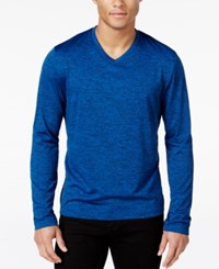 Alfani Men's Big And Tall Performance V Neck Long Sleeve T Shirt Only At Macy's Hyper Blue