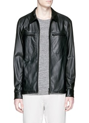 Theory 'Kelso L' Leather Jacket Black