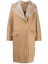 Manzoni 24 Shearling Button Up Coat Brown