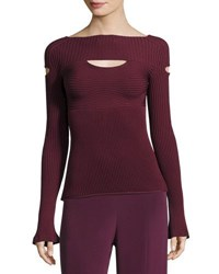 Cushnie Et Ochs Ribbed Boat Neck Top With Cutouts Maroon