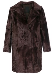 Liska Button Up Fur Coat Women Silk Lamb Fur M Red