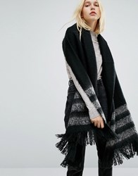 Pieces Long Knitted Scarf With Stripes Black Elephant