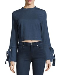 3X1 Hollow Tie Cuffs Cropped Denim Shirt Blue