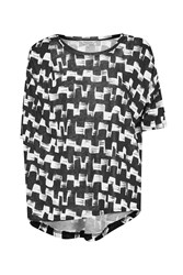 Great Plains Cubist Wave Drape T Shirt Black