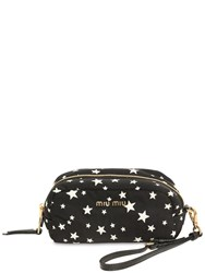 Miu Miu Star Printed Nylon Cosmetic Case Black White
