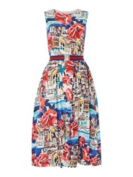 Oui Floral Sleeveless Fit And Flare Dress Multi Coloured Multi Coloured