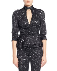 Balenciaga Star Print Tie Neck Ruched Jersey Blouse Black White
