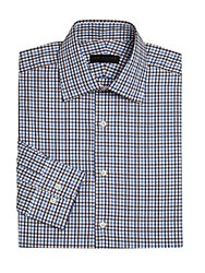 Ike By Ike Behar Long Sleeve Checkered Dress Shirt Blue Red