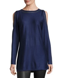 Neiman Marcus Embellished Trim Cold Shoulder Tunic Blue