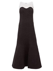 Vika Gazinskaya Sleeveless Trumpet Dress White Black