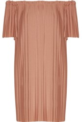 Adam By Adam Lippes Off The Shoulder Plisse Poplin Tunic Blush