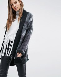 Religion Luxury Drapey Cardigan In Check Knit Charcoal Grey Black Multi