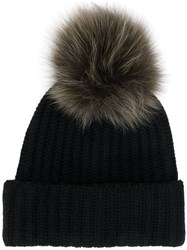 Yves Salomon Fur Puff Beanie Black