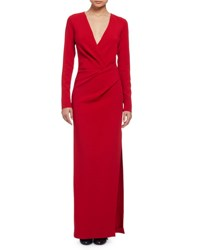 Lanvin Long Sleeve Column Gown Red Rouge
