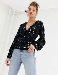 Ghost Amina Top With Star Embroidery Black
