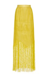 Maison Rabih Kayrouz High Rise Fringe Long Skirt Yellow