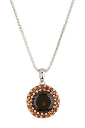 Savvy Cie Sterling Silver Smokey Quartz And Citrine Pendant Necklace Multi