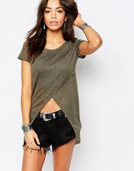 Only Cross Front Tunic Top Khaki