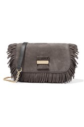 See By Chloe Rosita Small Fringed Suede And Textured Leather Shoulder Bag Charcoal