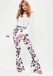 Missguided Pink Floral Print Kick Flare Trousers