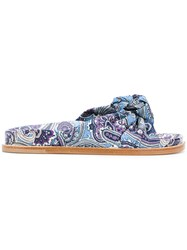 Etro Knotted Paisley Slides Blue