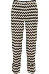 Issa Blanche Wool Blend Jacquard Straight Leg Pants Black