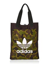 Adidas Black Canvas Shopper Bag By Dark Green