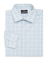 Theory Dover Checked Slim Fit Cotton Dress Shirt Blue