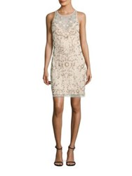 Aidan Mattox Beaded Illusion Sheath Dress Champagne