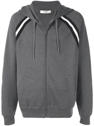 Bally Stripe Detail Zip Hoodie Grey
