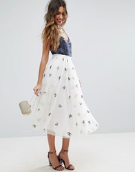 Asos Tulle Midi Skirt With Embroidery Ivory White