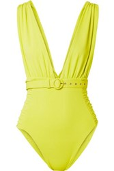 Nicholas Belted Ruched Swimsuit Chartreuse