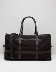 Barney's Barneys Canvas Holdall In Black With Leather Trims Black