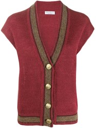 Brunello Cucinelli Ribbed Short Sleeved Cardigan Red