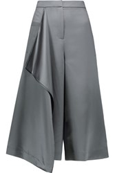 Tibi Draped Satin Culottes Anthracite