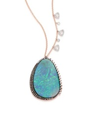 Meira T Boulder Opal Diamond 14K White And Rose Gold Pendant Necklace Rose Gold Multi