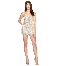 Brigitte Bailey Luna Child Foil Print Lace Up Romper Gold Women's Jumpsuit And Rompers One Piece
