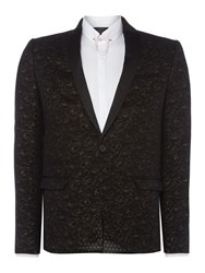 Label Lab Men's Jeff Velvet Rose Printed Skinny Blazer Black