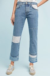 Anthropologie Current Elliott The Diy Original Straight High Rise Cropped Jeans Denim Light
