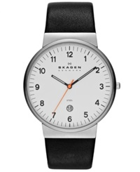 Skagen Watch Men's Black Leather Strap 45Mm Skw6024