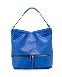 Neiman Marcus Penelope Faux Leather Hobo Bag Blue