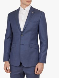 Ted Baker Fuzion Birdseye Wool Tailored Suit Jacket Blue