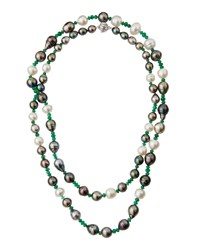 Assael Long Emerald And Baroque Tahitian And South Sea Pearl Necklace Women's