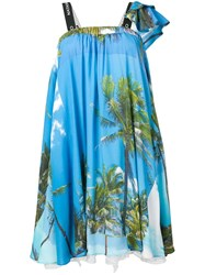 Natasha Zinko Palm Trees Print Mini Bell Dress Blue
